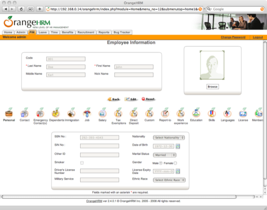 JumpBox for OrangeHRM Human Resources Management