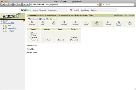 JumpBox for the PostgreSQL Relational Database Management System
