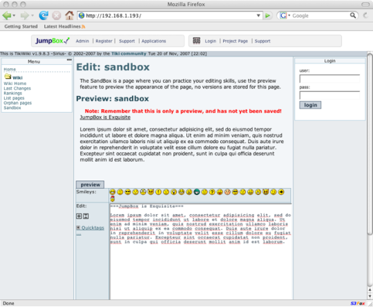 JumpBox for the TikiWiki Content Management System