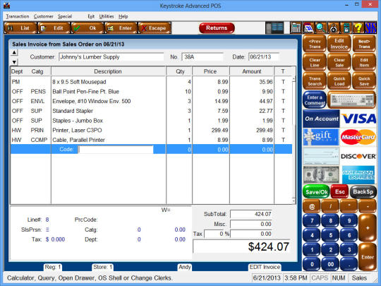 Keystroke Advanced POS Software