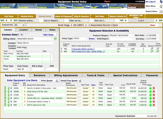 KiBiz Event and Equipment Rental Management Program