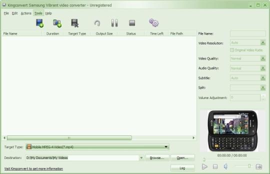 KingConvert Samsung Vibrant Video Converter