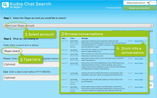 Kudos Chat Search for Skype (Mac)