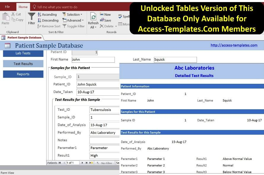 Laboratory Information Management System for MS Access