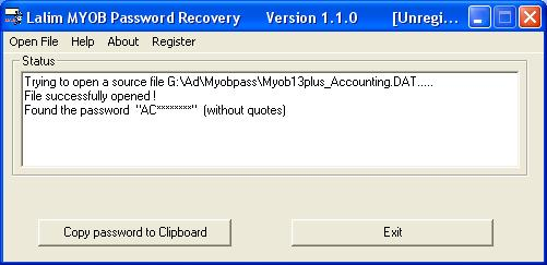 Lalim MYOB Password Recovery