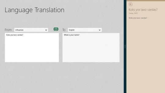 Language Translation for Windows 8