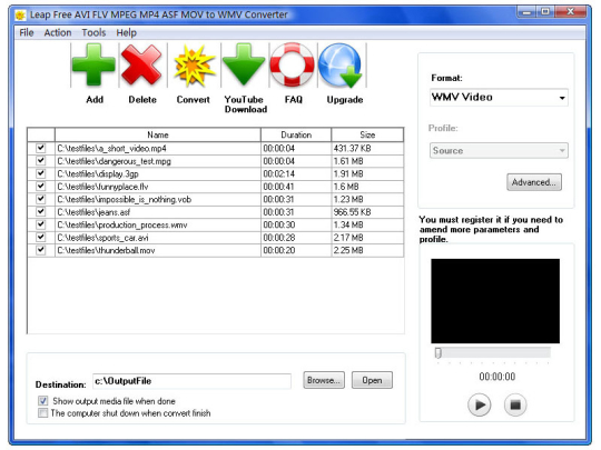 Leap Free AVI FLV MPEG MP4 ASF MOV to WMV Converter