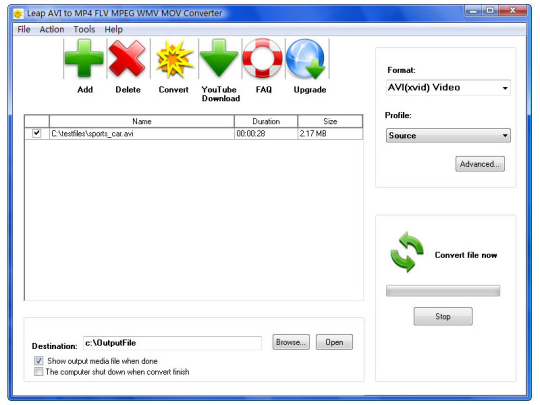 Leap Free AVI to MP4 FLV MPEG WMV MOV Converter