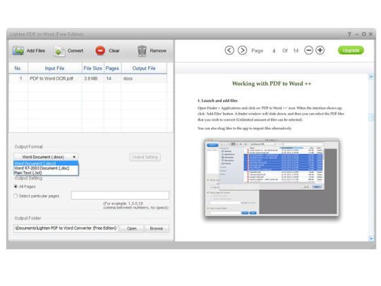 Lighten PDF to Word Free Edition