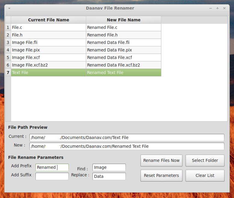 Linux File Renamer