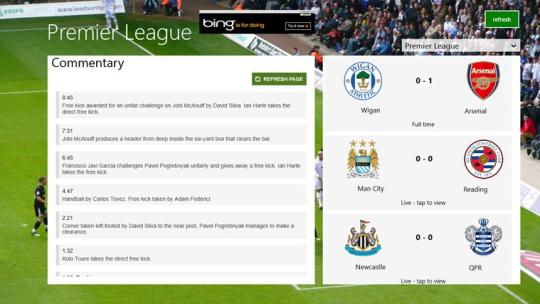 Live English Football for Windows 8