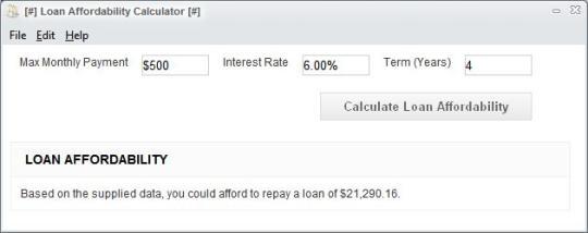 Loan Affordability Calculator