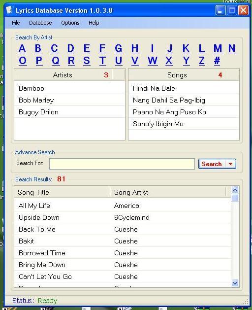 Lyrics Database Program