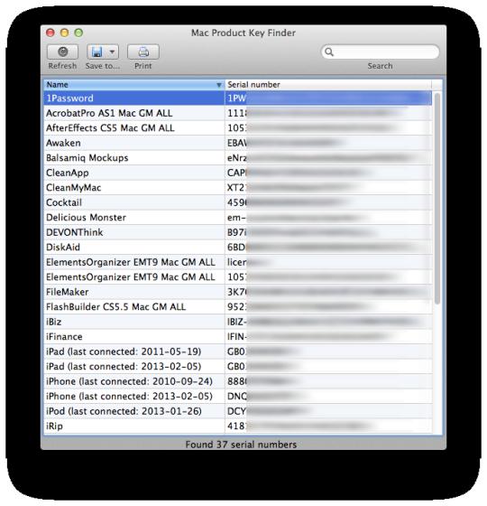 Mac Product Key Finder