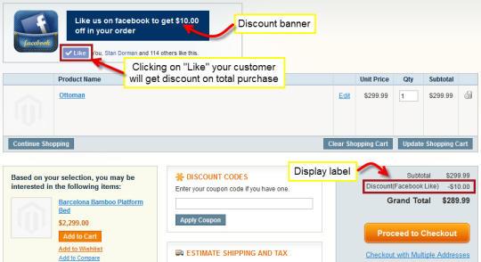 Magento Facebook Like Discount