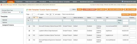 Magento Product Custom Options Templates
