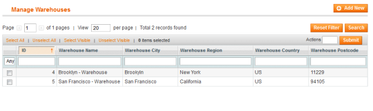 Magento Product Shipping Warehouse Origin