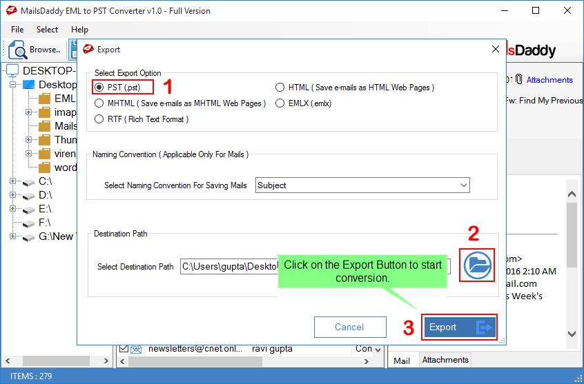 MailsDaddy EML to PST Converter