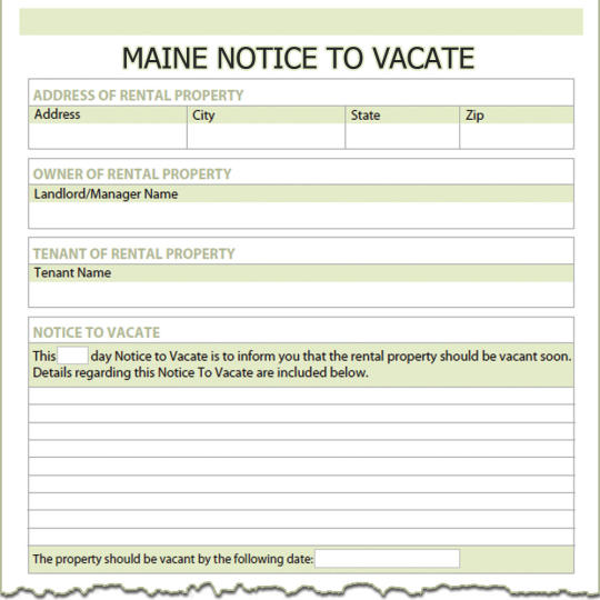 Maine Notice To Vacate