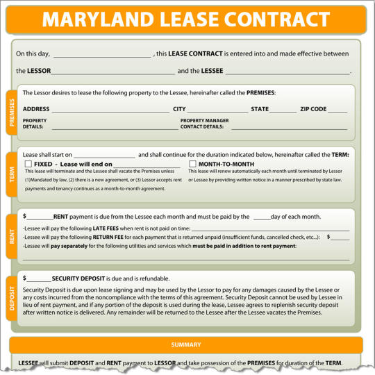 Maryland Lease Contract