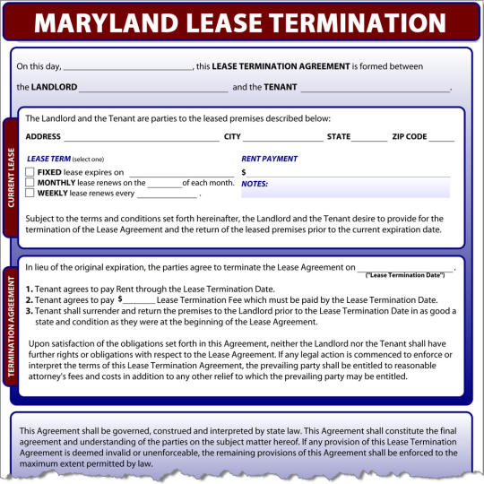 Maryland Lease Termination