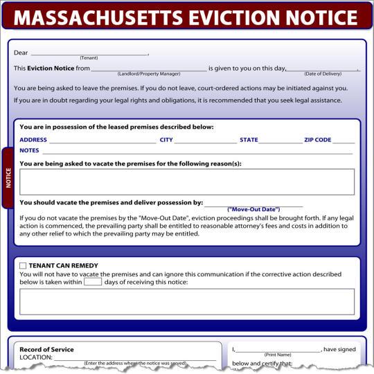 Massachusetts Eviction Notice