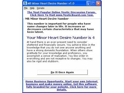 MB Minor Heart Desire Number
