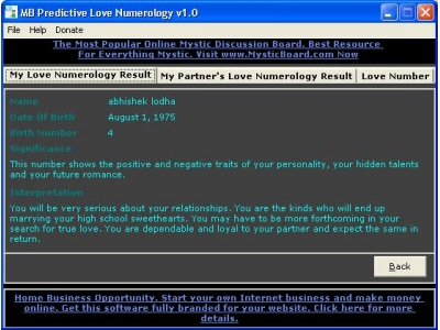 MB Predictive Love Numerology