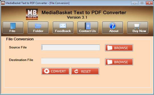 MediaBasket Text 2 PDF Converter