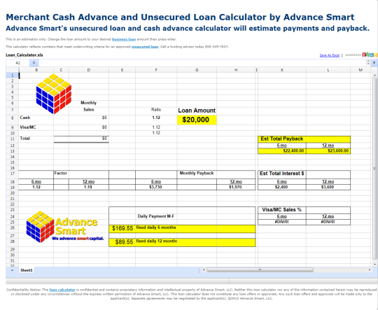 Merchant Cash Advance and Loan Calculator