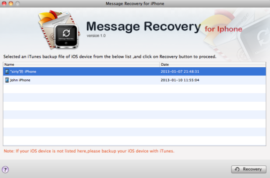 Message Recovery for iPhone