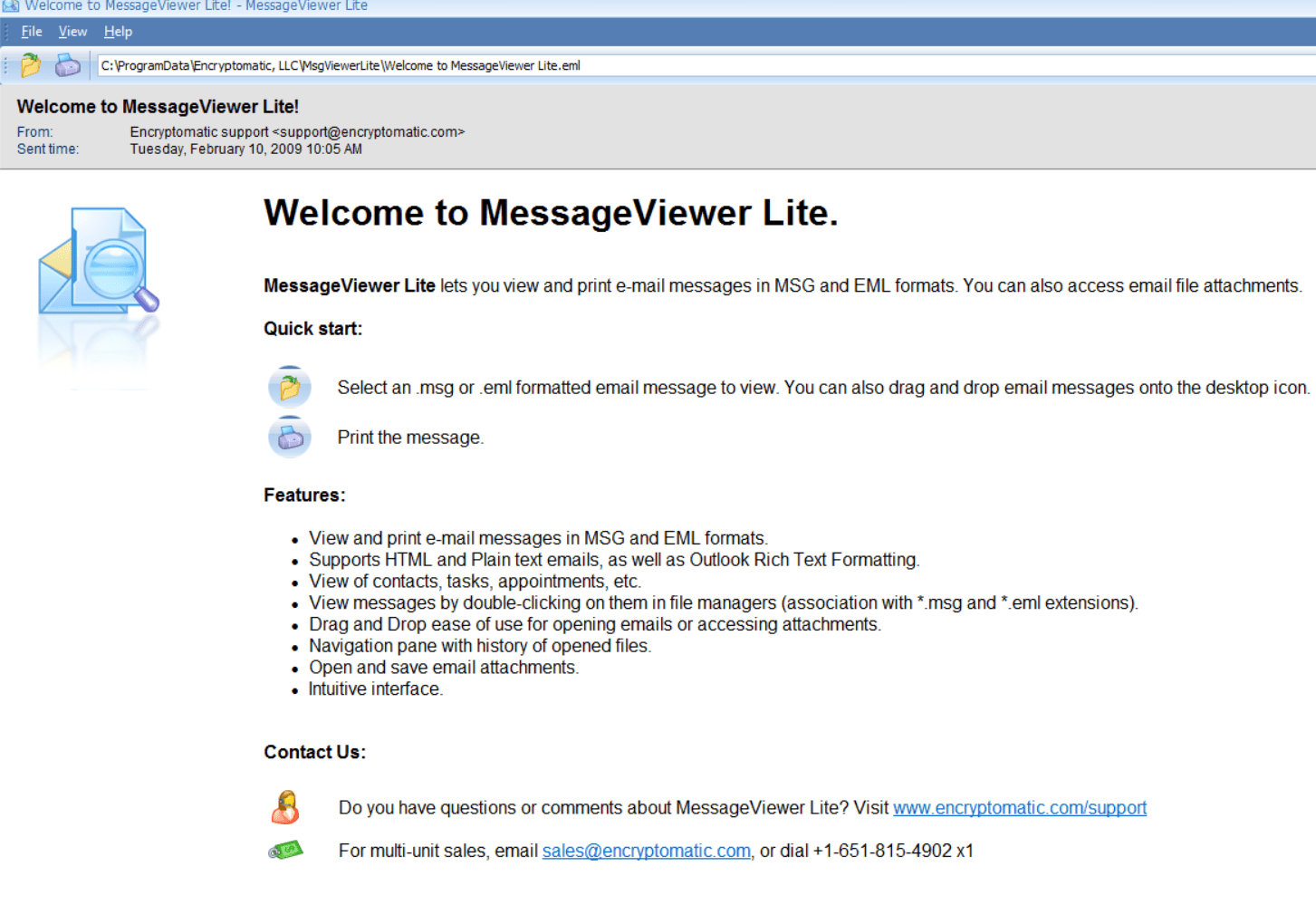 MessageViewer Lite email viewer
