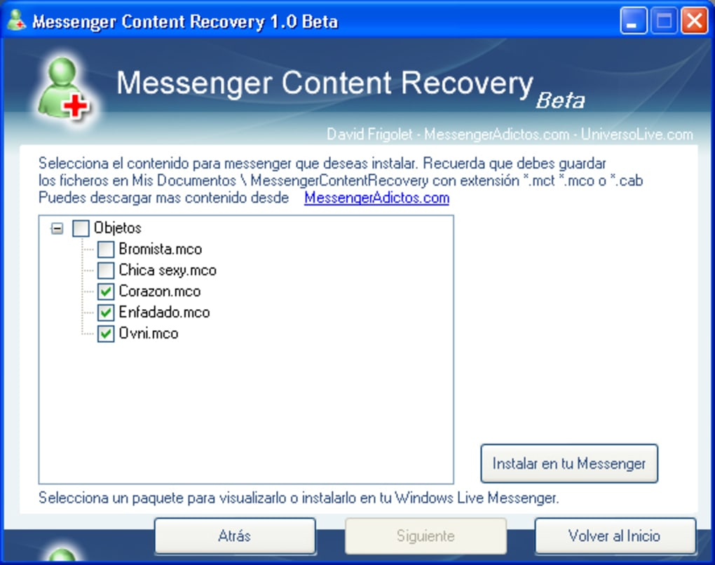 Messenger Content Recovery