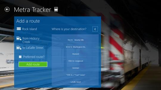 Metra Tracker for Windows 8
