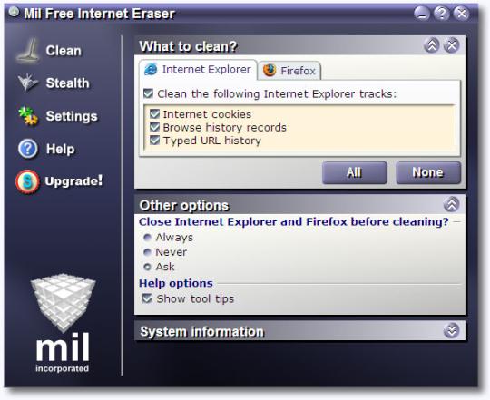 Mil Free Internet Eraser