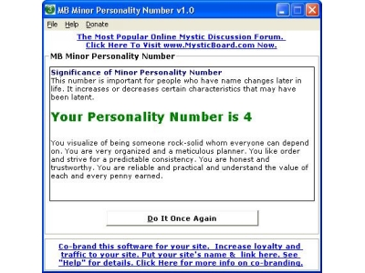 Minor Personality Number
