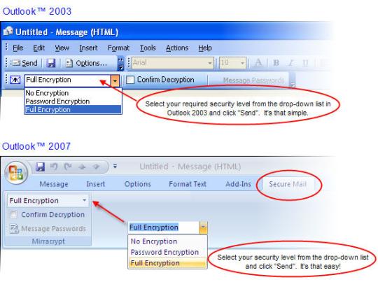 Mirracrypt Encryption for Outlook