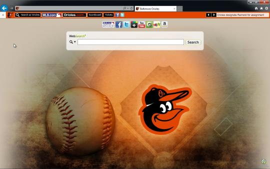 MLB Baltimore Orioles Browser Theme for Internet Explorer