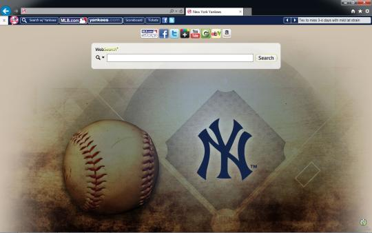 MLB New York Yankees Theme for Internet Explorer