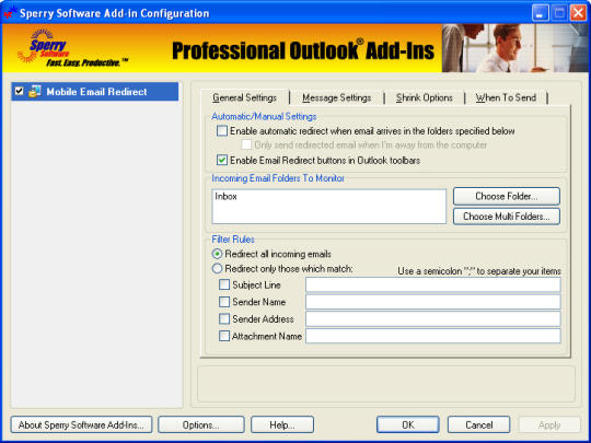 Mobile Email Redirect for Outlook 2010 (64-bit)