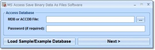 MS Access Save Binary Data As Files Software