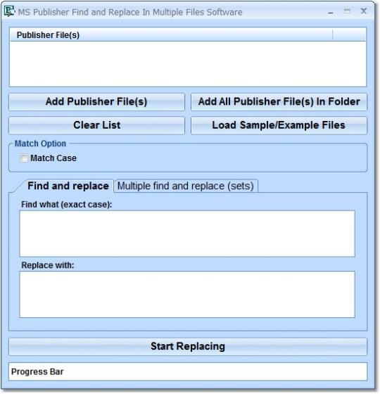 MS Publisher Find and Replace In Multiple Files Software