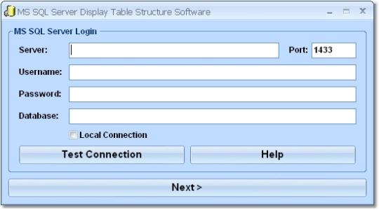 MS SQL Server Display Table Structure Software