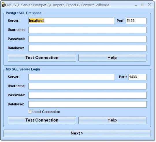 MS SQL Server PostgreSQL Import, Export & Convert Software