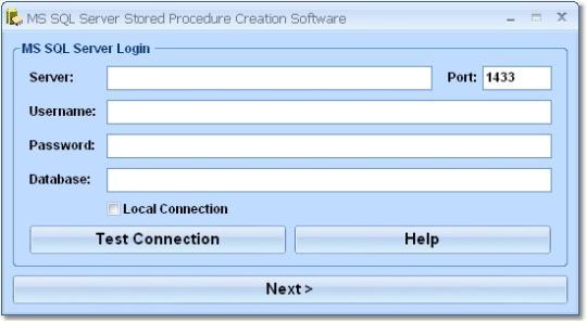 MS SQL Server Stored Procedure Creation Software