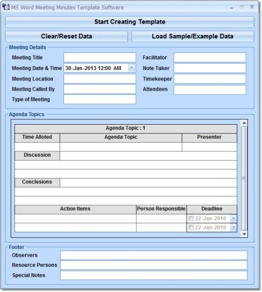 MS Word Meeting Minutes Template Software