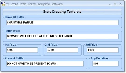 MS Word Raffle Tickets Template Software