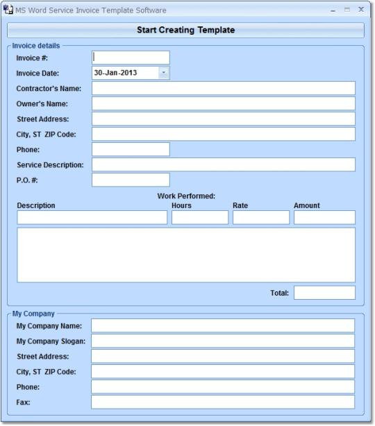 MS Word Service Invoice Template Software