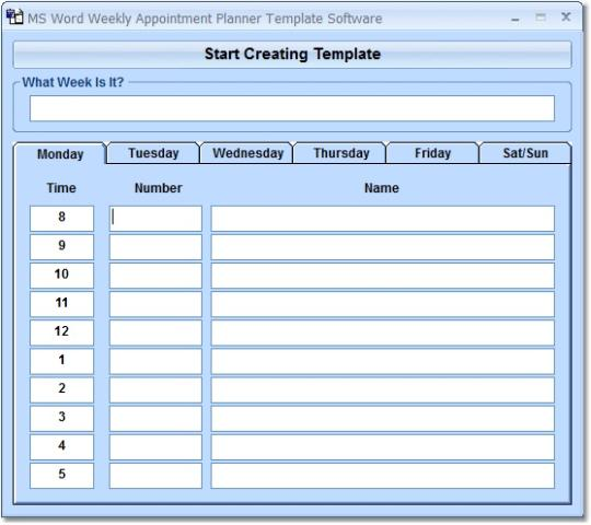 MS Word Weekly Appointment Planner Software