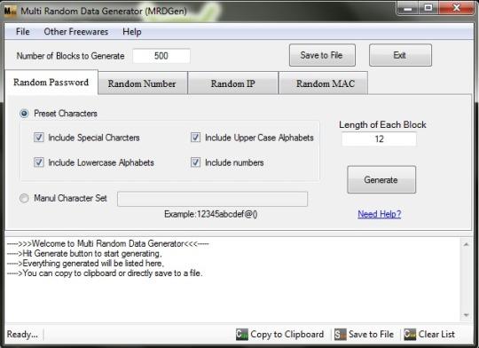 Multi Random Data Generator
